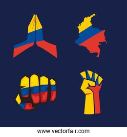 colombian protest four icons