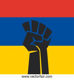 fist in colombian upside down flag