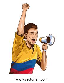 colombian man with megaphone