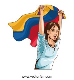 colombian woman with flag