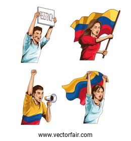 four colombians protesting