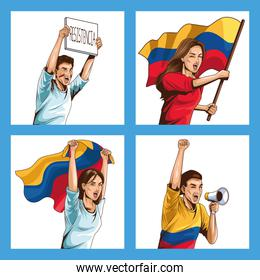 colombians people protesting