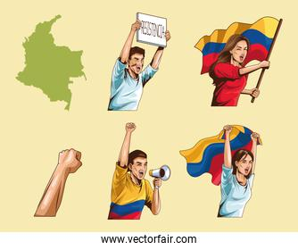 colombians group protesting