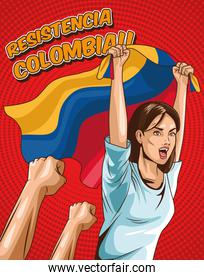 colombian female with flag