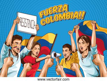 group of colombians protesters