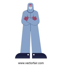 doctor wearing biosafety suit