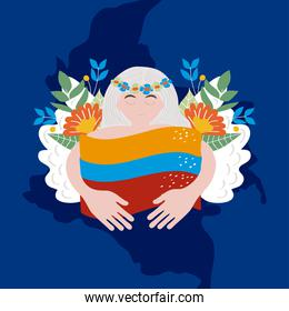 colombian woman with flag and wings