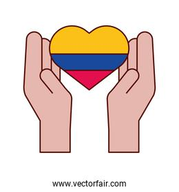 hands with colombian heart