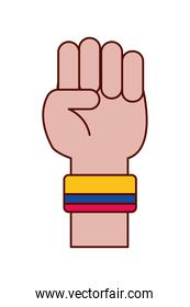 colombian hand with band