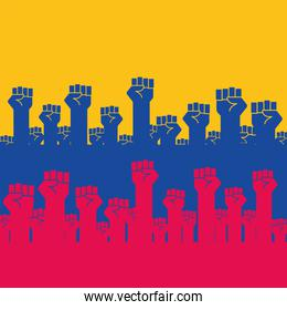colombian protesters hands