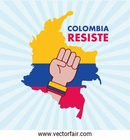 colombian map with fist