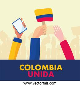 colombians hands protesting