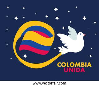 dove with flag colombian