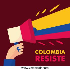 megaphone with colombian flag