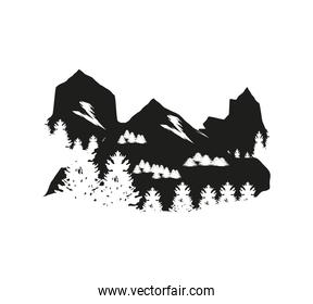 silhouette mountains forest