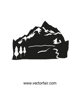 silhouette mountains tree river