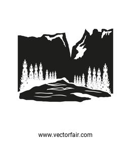 silhouette valley trees