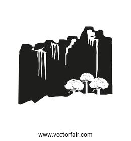 silhouette hills trees