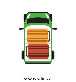 top view car suitcases