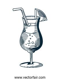 juice cup with straw drink hand drawn style icon
