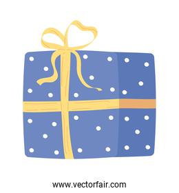 blue giftbox present packing isolated icon