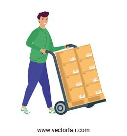 delivery worker with pile boxes carton in cart
