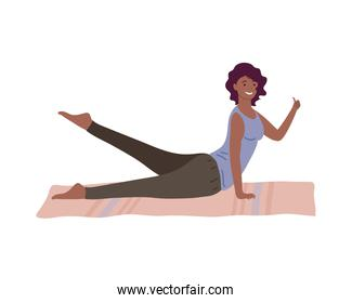 athletic afro woman practicing exercise