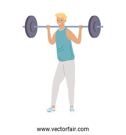 athletic man lifting weight fitness lifestyle