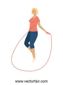 athletic woman jumping rope fitness lifestyle