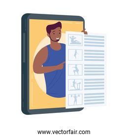 athletic afro man in tablet fitness online tech