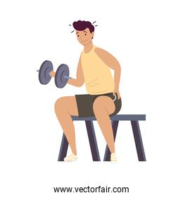 athletic man lifting dumbbell fitness lifestyle