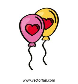 hearts in balloons helium