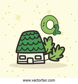 house with leaves and oxygen