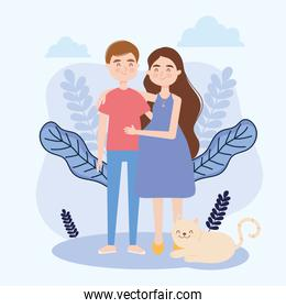 woman and man with cat