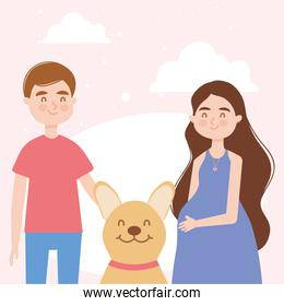 woman and man with dog