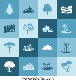 silhouette blue trees