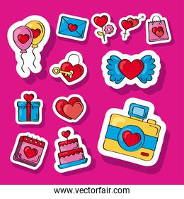 twelve love doodles icons