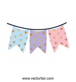 garland with bundle of stars on a white background