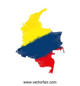 colombian flag in map