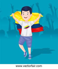colombian boy with flag