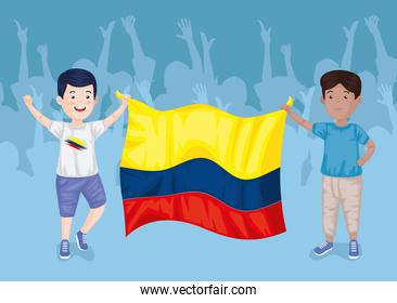 colombians boys with flag