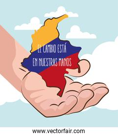colombia map in hand