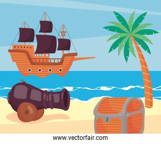 pirate icons on the beach