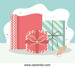 wrapping gift boxes