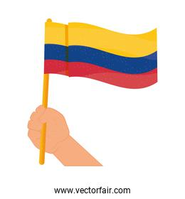 colombia flag in hand