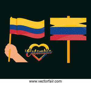 colombia flags and heart
