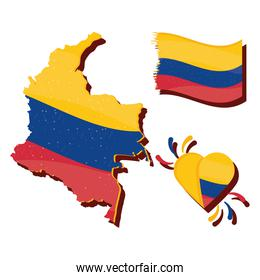 colombia map with flag and heart