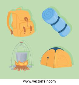 camping cartoon set