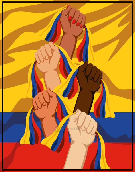 raised hand Colombia flags