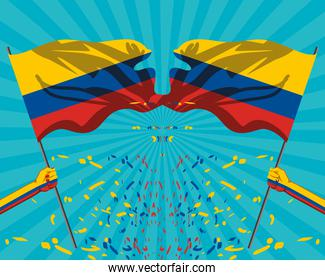 hands with Colombia flag